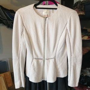 Quilted peplum zip up blazer by Rebecca taylor